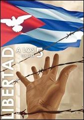Mano alzada tras cerca de púas, bandera cubana con silueta del águila imperial y rótulo Libertad a los 5