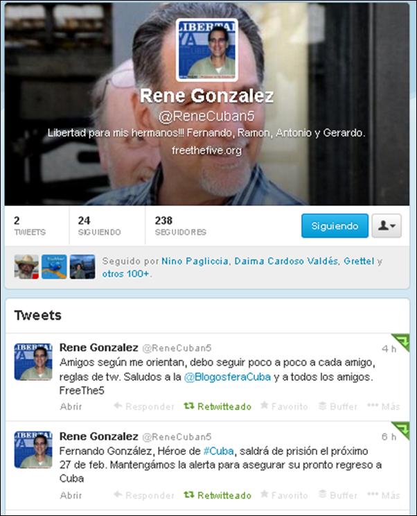 Cuenta de René González en Twitter