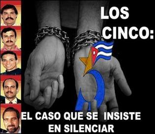 Dos manos encadenadas e imágenes de los Cinco y el logotipo de la campaña por su liberación