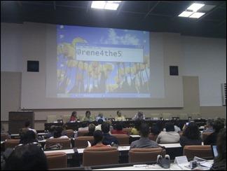 """Panel """"Compromiso social de los universitarios en la promoción de la lucha por la liberación de Los Cinco"""" en Universidad 2014"""