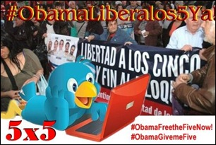 Manifestantes reclaman con pancartas Libertad para los Cinco #ObamLiberalos5ya! #ObamaFreetheFiveNow! #ObamaGiveMeFive