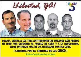 Poster de #LosCinco de la Plataforma Canaria de Solidaridad con los Pueblos