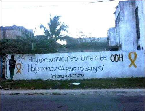 Pintura solidaria en Cancún, México, con frase de Antonio Guerrero