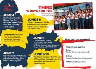 """Infografía sobre la III Jornada """"5 días por los 5 cubanos"""" a realizarse en Washington DC, junio 2014"""