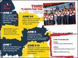 """Infografía sobre la II Jornada """"5 días por los 5 cubanos"""" en Washington DC"""