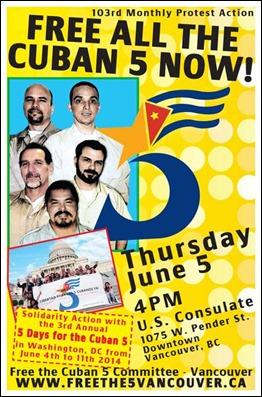Poster de la acción 103 del Comité de Vancouver por la liberación de los Cinco