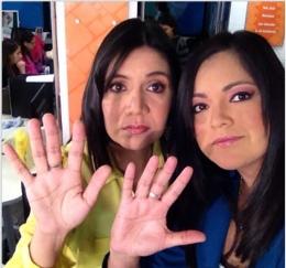 Marcela Heredia y Adriana Flores, presentadoras de Telesur