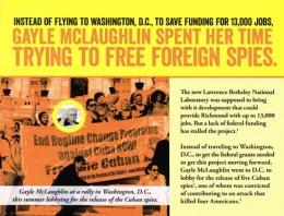 Folleto de publicidad de Chevron para perjudicar la candidatura de Gayle McLaughlin