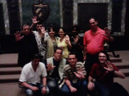 Miembros del Comité Internacional y del Grupo de Acción en Solidaridad con los Cinco en el acto por el Día del Estudiante de la Universidad de La Habana, 17 de noviembre de 2014