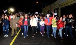 Los cinco antiterroristas cubanos presidieron la Marcha de las Antorchas en La Habana