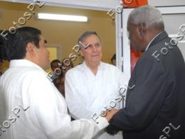 Esteban Lazo y Miguel Barbosa Huert, presidente del Senado de México