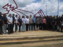 Foto oficial visita de Gerardo Hernández, Ramón Labañino y René González a la UCI